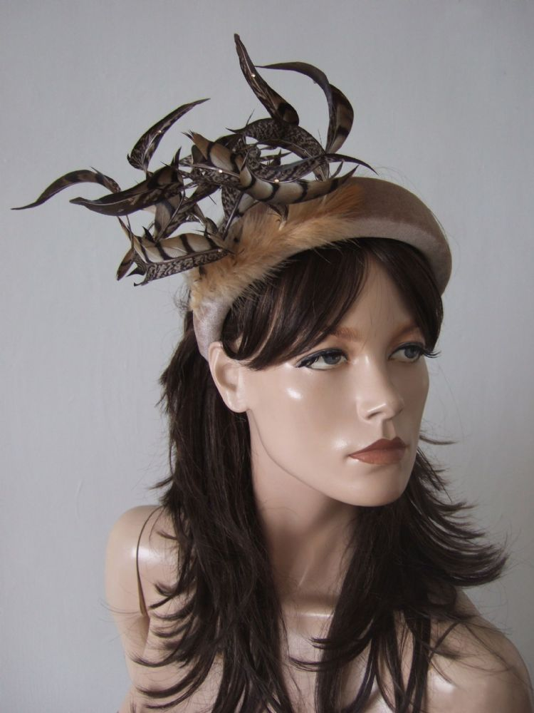 Beige Nude Thick Padded Wide Embellished Headband with Pheasant Feathers + Swarovski Crystals